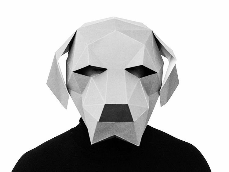 White 3d Paper Dog Mask Printable Paper Templates For Diy Dog Head Mask For Men Costume Fancy Halloween Party Paper Dogs Paper Animals Dog Mask