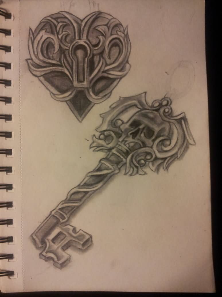 4f40e20e3 Heart Lock And Skeleton Key Tattoo Design Butterfly Art Key Lock ...