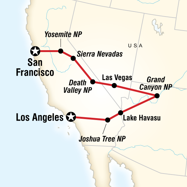 map of the route for san francisco to los angeles express. Black Bedroom Furniture Sets. Home Design Ideas