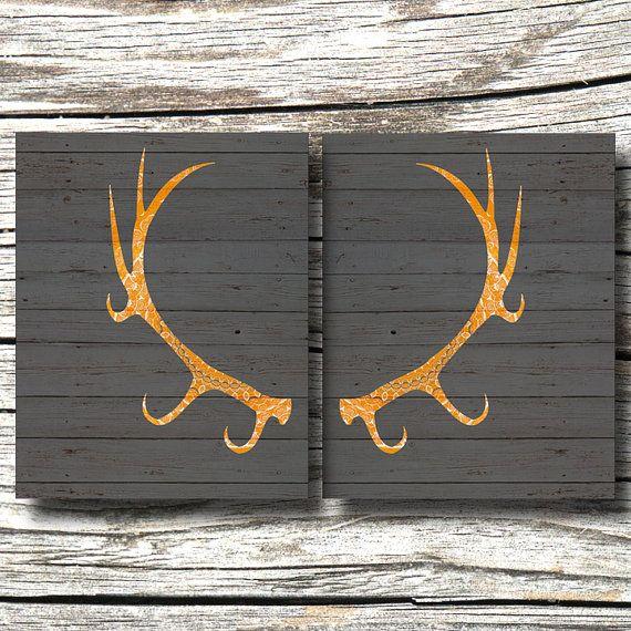 Modern Deer Antler Art Dark Grey Orange Yellow Faux Wood