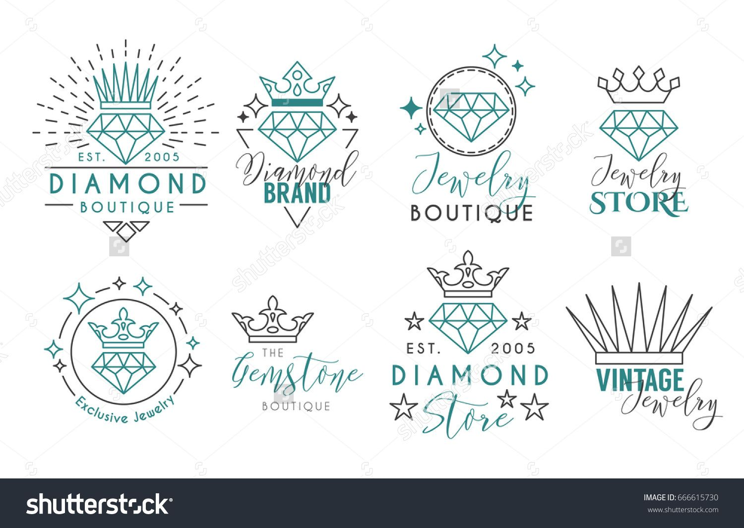 Jewelry Logo Set or Label Template for jewelry store, jeweler ...