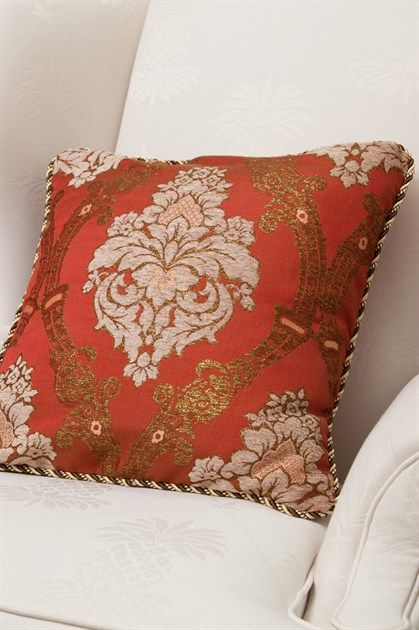 ndulge yourself with this luxury and ornate piillow in your living room, louge or anywhere you desire to place it. The fabric is simply stunning with the ornate details and classic color combo. The matching color rope trim around is a to-die-for enhancement that completes the designer look of this pillow case. http://www.celuce.com/p/82/turandot-pillow-case