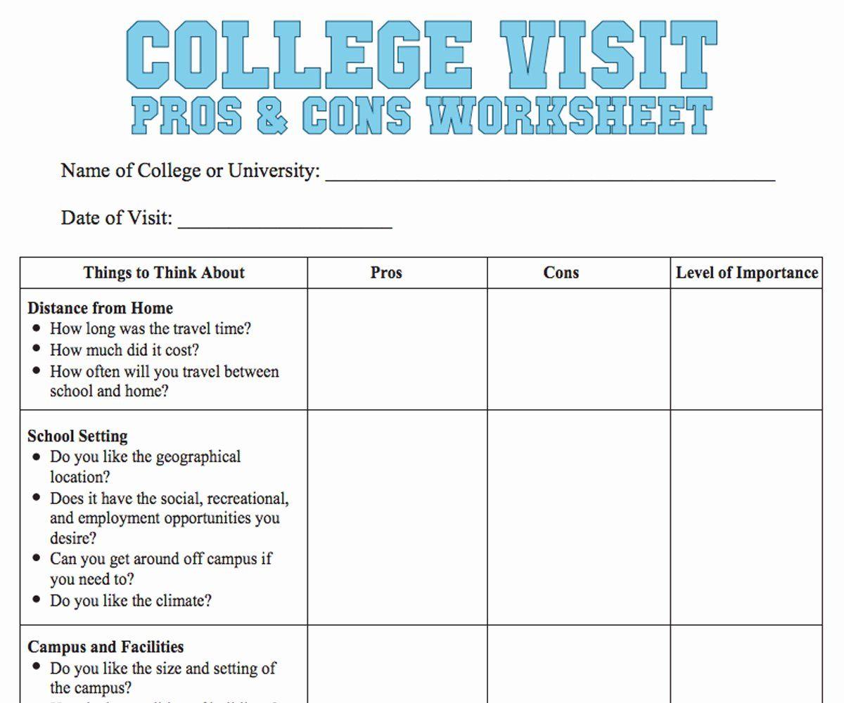 Choosing A College Worksheet Elegant College Visit Checklist Worksheet Familyeducation In 2020 College Visit Online Education Online College Degrees