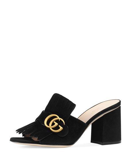 e70bb6ab7 GUCCI Marmont Suede Kiltie Mule Sandal, Black. #gucci #shoes ...