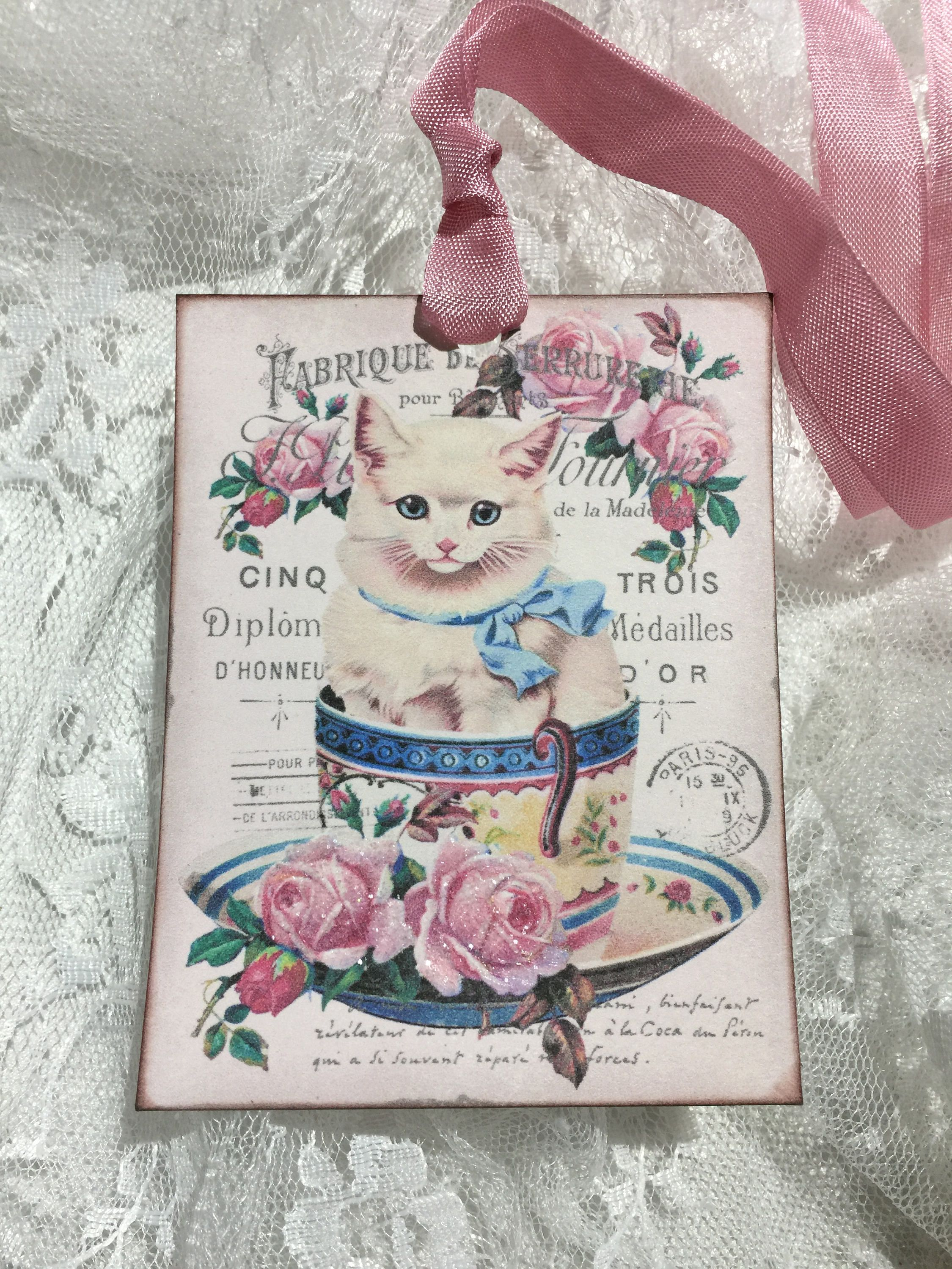 XL Vintage Shabby Chic Cat In a Tea Cup Gift Tags Glittered Gift
