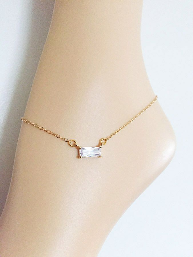 Gold Bridal Cz Anklet Rectangle Ankle Bracelet Wedding Jewelry Plated Or Filled Chain Accessories Foot By Studio007nyc