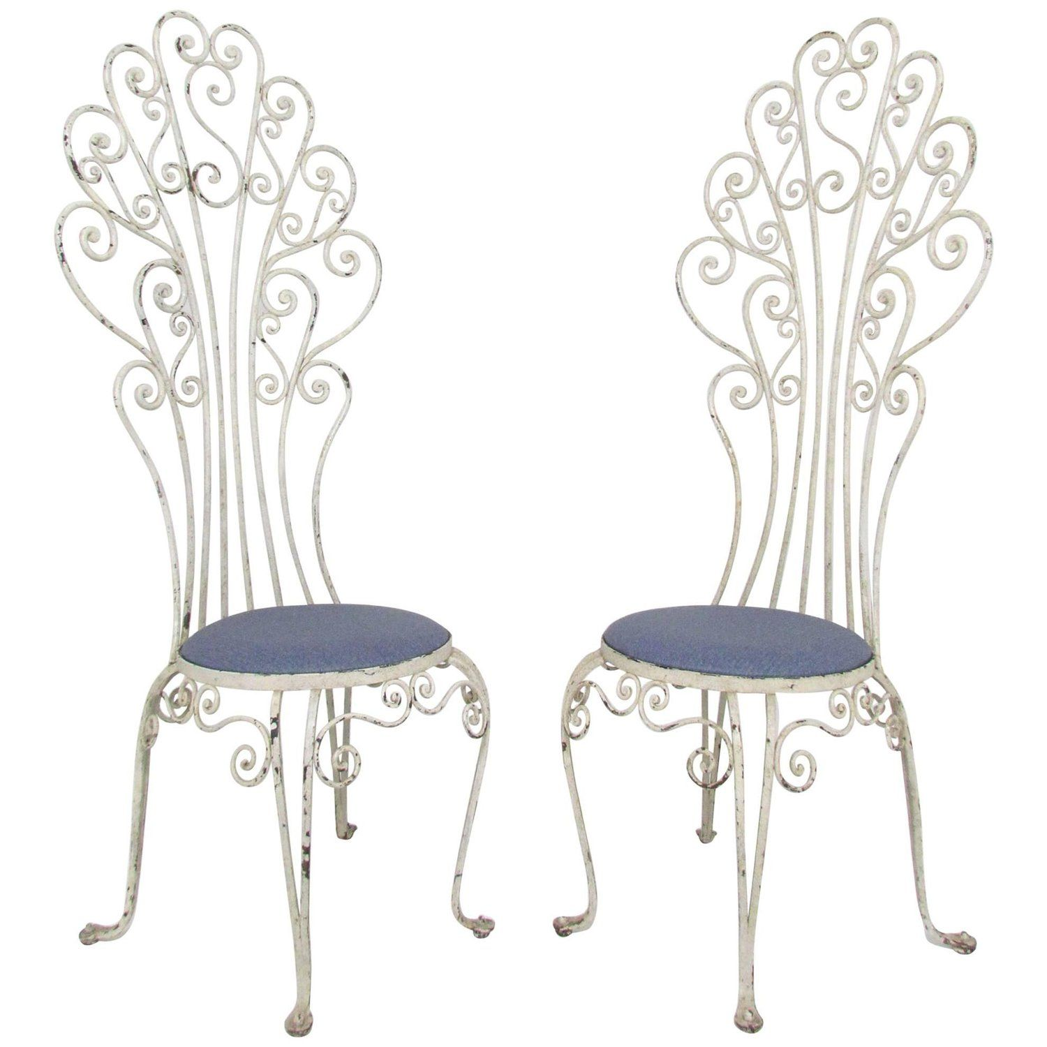 Pair Of High Back Peacock Wrought Iron Patio Chairs Circa 1960s