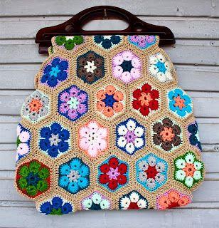 Eu que Fiz - Vovó Baisa: Bolsa ou sacola em crochê com flores da Primavera!!!