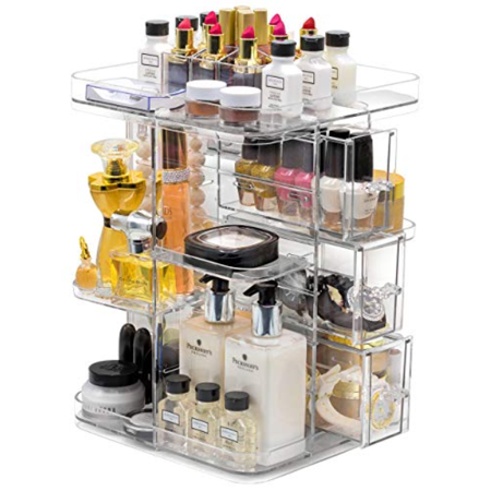 Mainstays 360° Rotating Makeup Organizer, Adjustable Storage for Cosmetics, Toiletries, and More, Clear - Walmart.com