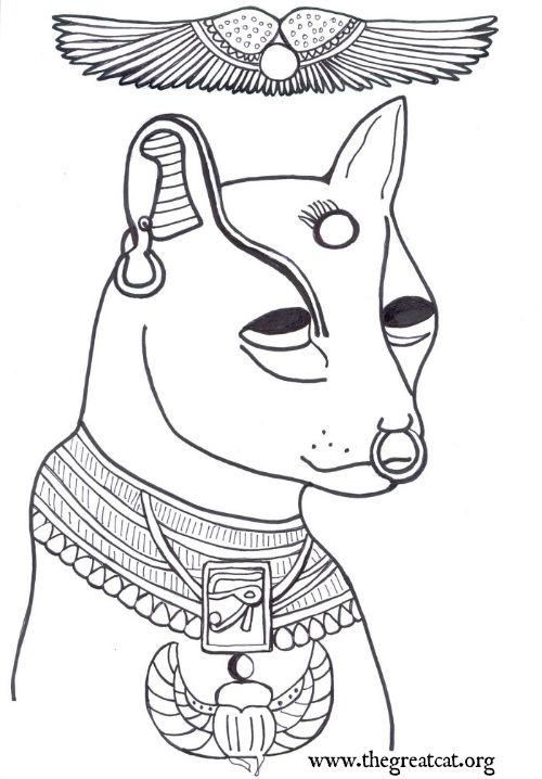 ANCIENT EGYPTIAN CATS A COLORING BOOK FOR ADULTS AND ...