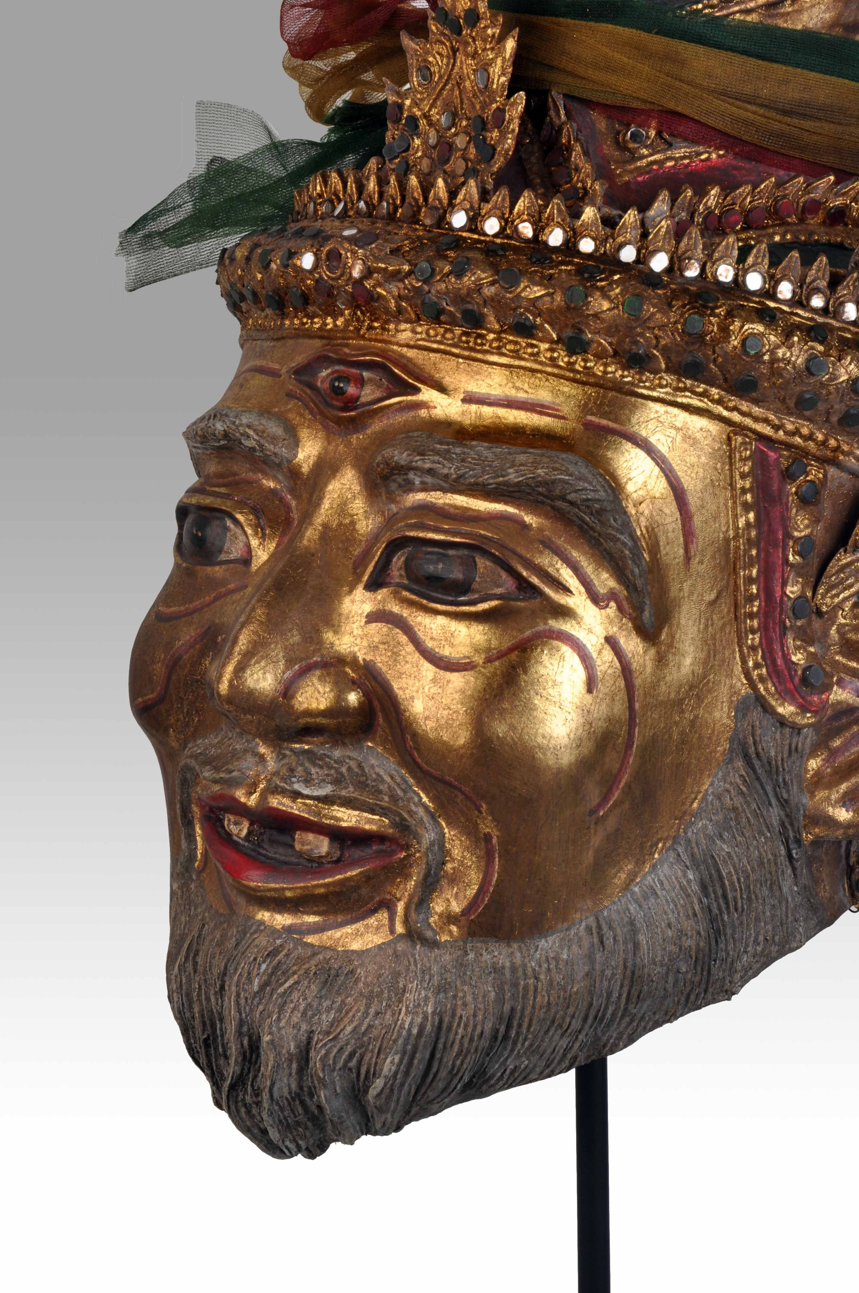 Thai Hermit mask with eye of Fire - Private collection of Stephane Peray - French artist in Bangkok.
