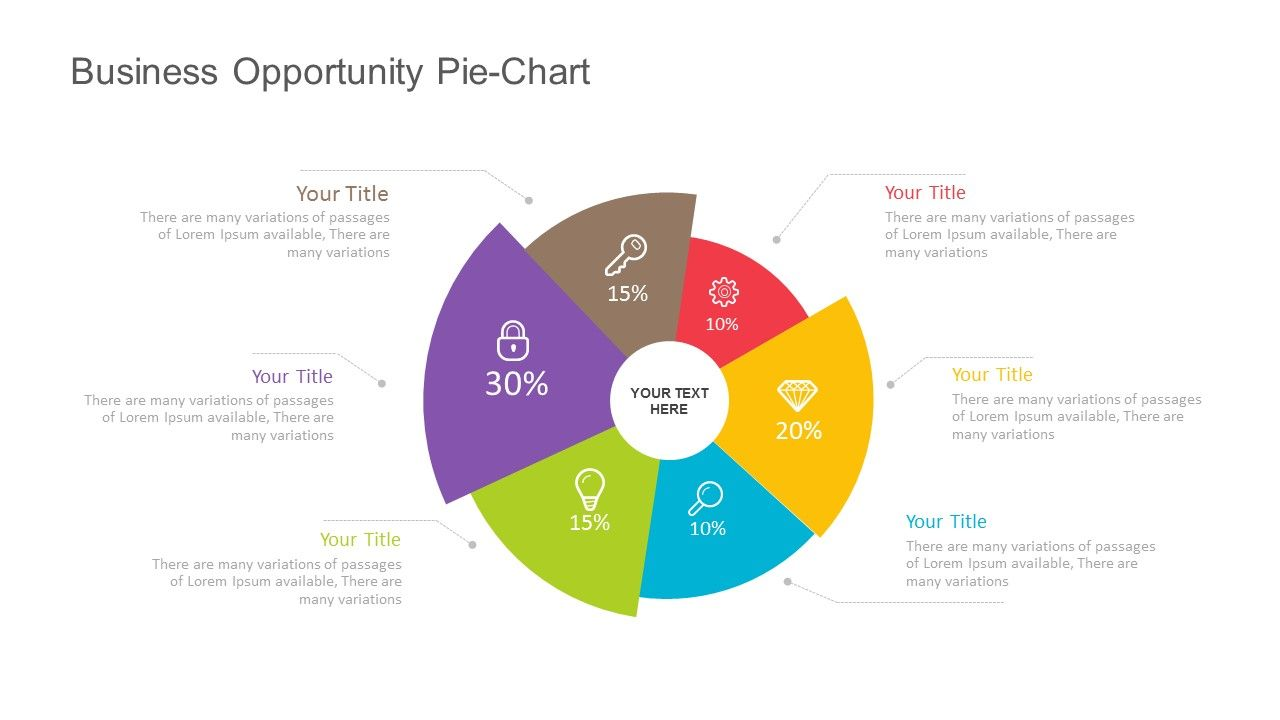 Business opportunity pie chart for powerpoint fully editable instantly  also rh pinterest