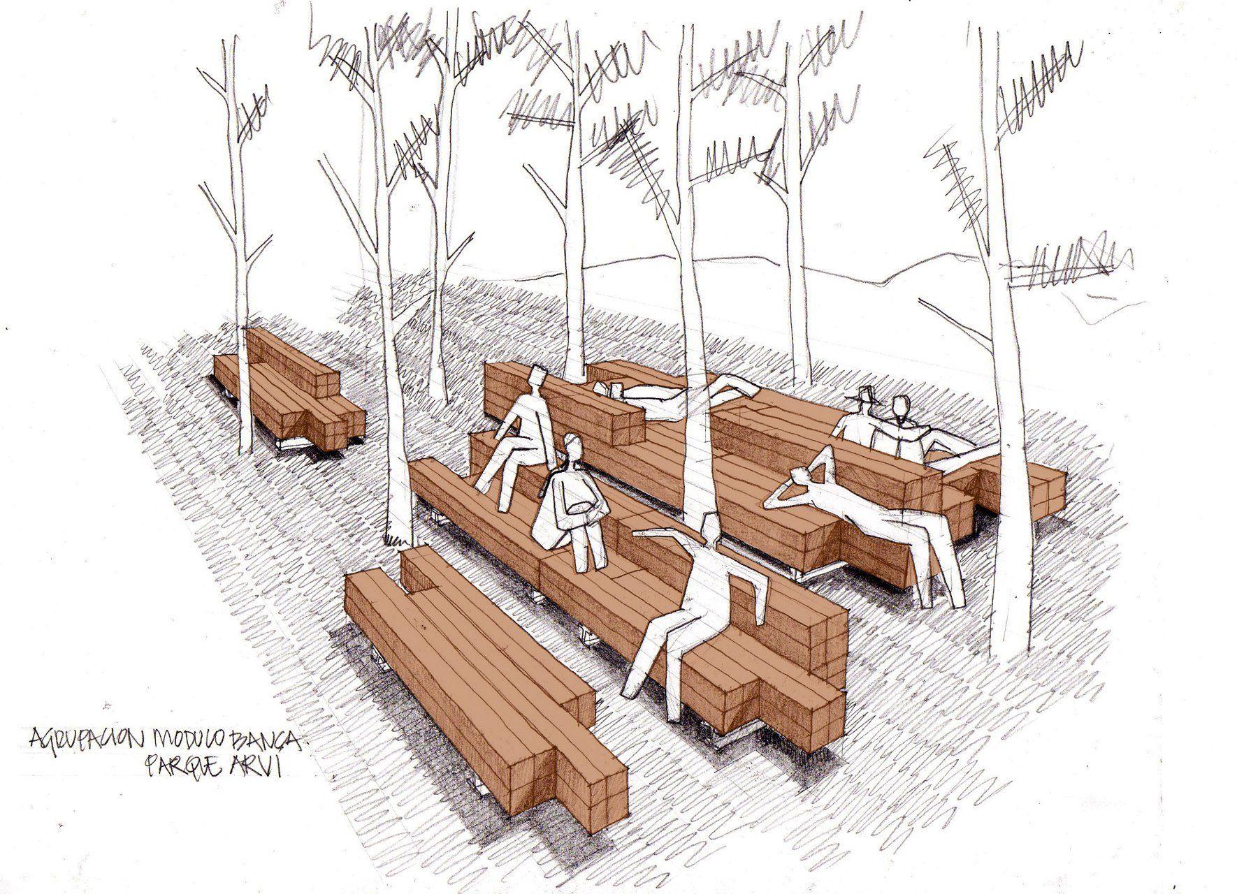 Dibujos de bancas de parques arquitectura buscar con for Equipamiento urbano arquitectura pdf