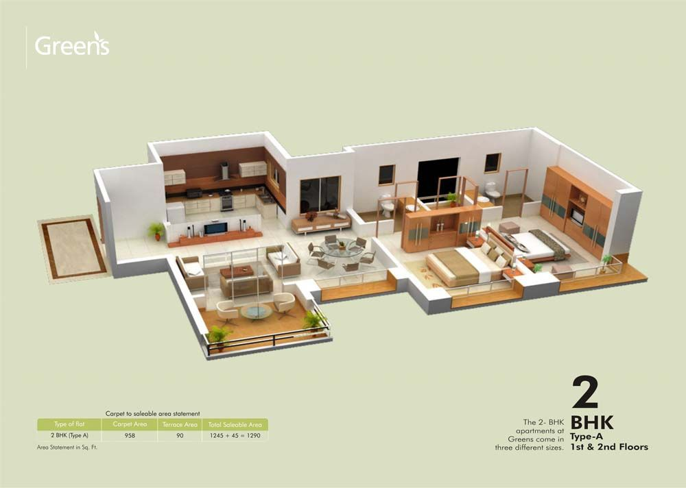 Marvelous 2bhk Home Design Plans Indian Style 3d Pictures