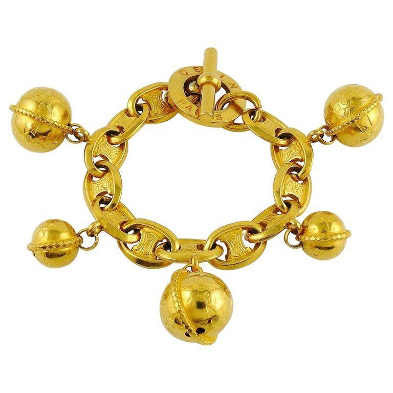 Celine Vintage 1990 Iconic Gold Toned Planisphere Charm Bracelet Charm Bracelet Vintage Charm Bracelet Gold Tone Bracelet