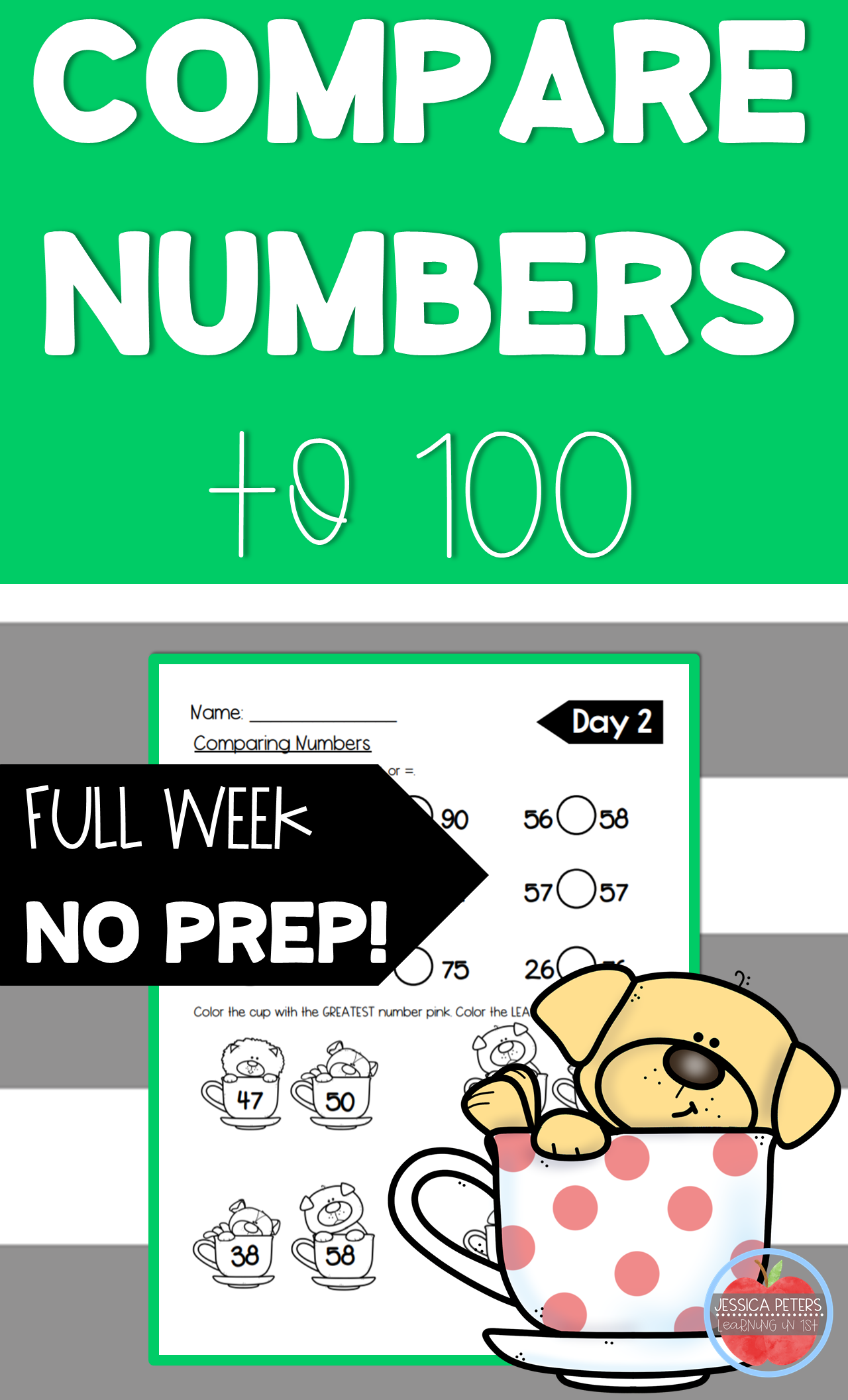 First Grade Math Compare Numbers To 100 Practice