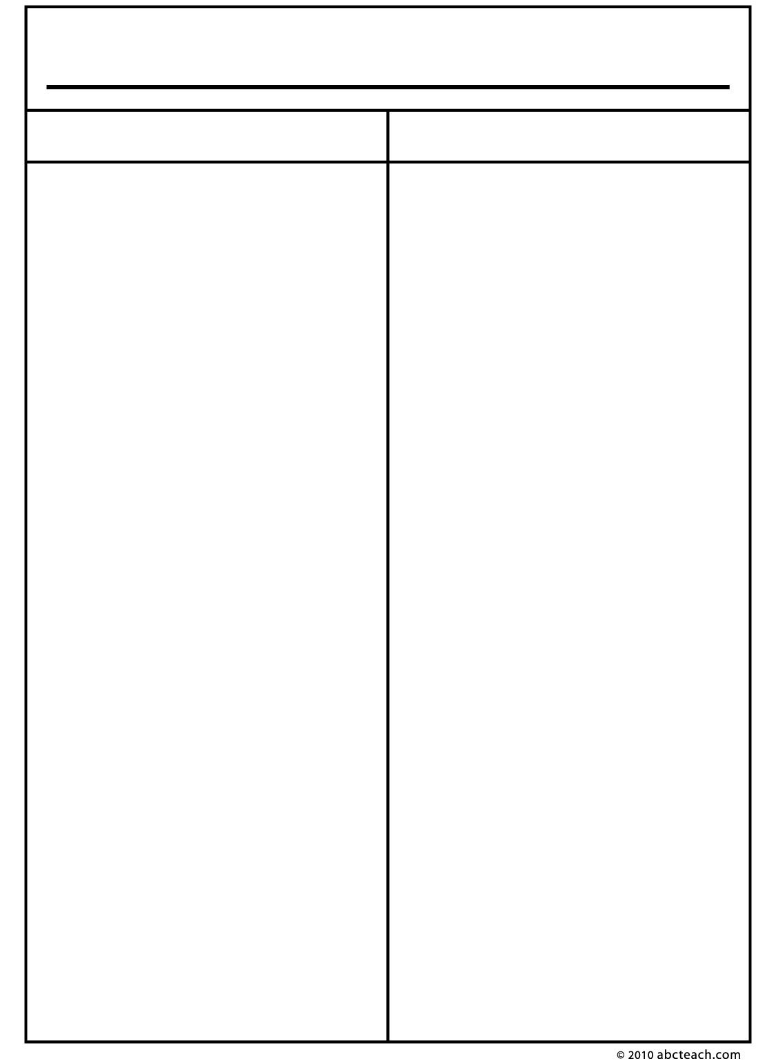 Graphic Organizers Printable graphic organizers – Free Printable T Chart