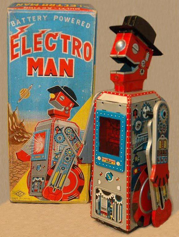 Vintage Japan Tin Toys : Robots toy space toys pink vintage japan tin