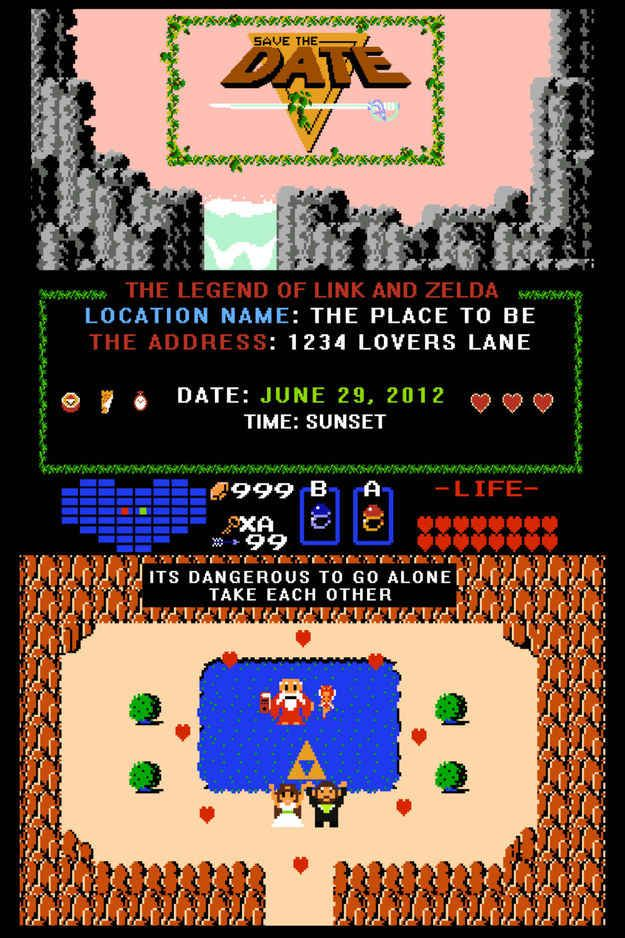 18 wedding invitations that will make your inner nerd insanely happy this old school zelda invitation and other fun nerdy wedding invitations stopboris Choice Image