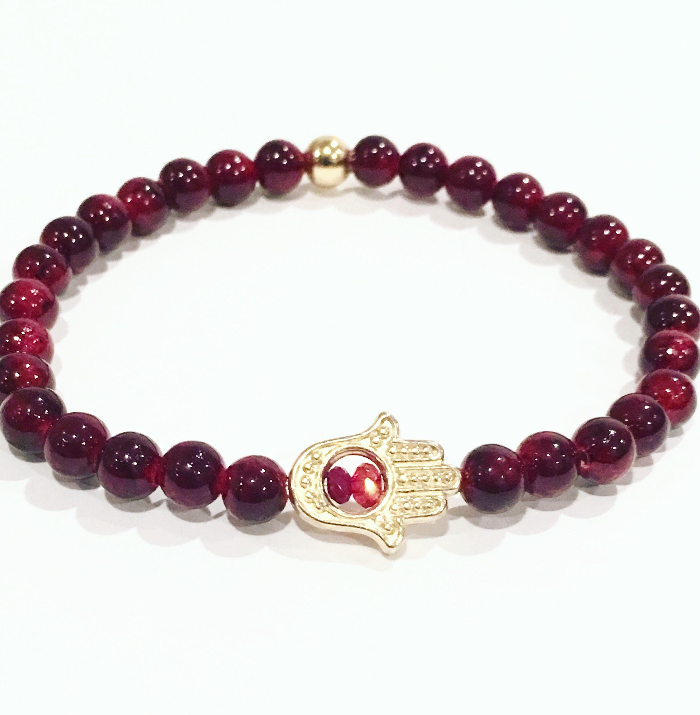 Hamsa charm stretchy bracelet.