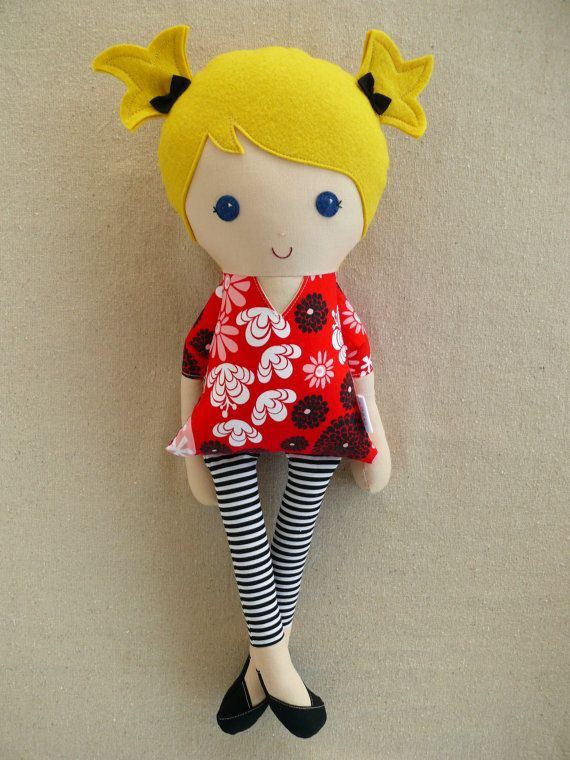 Fabric Doll Rag Doll Brown Haired Girl in Red and Black Modern Floral Print Dress
