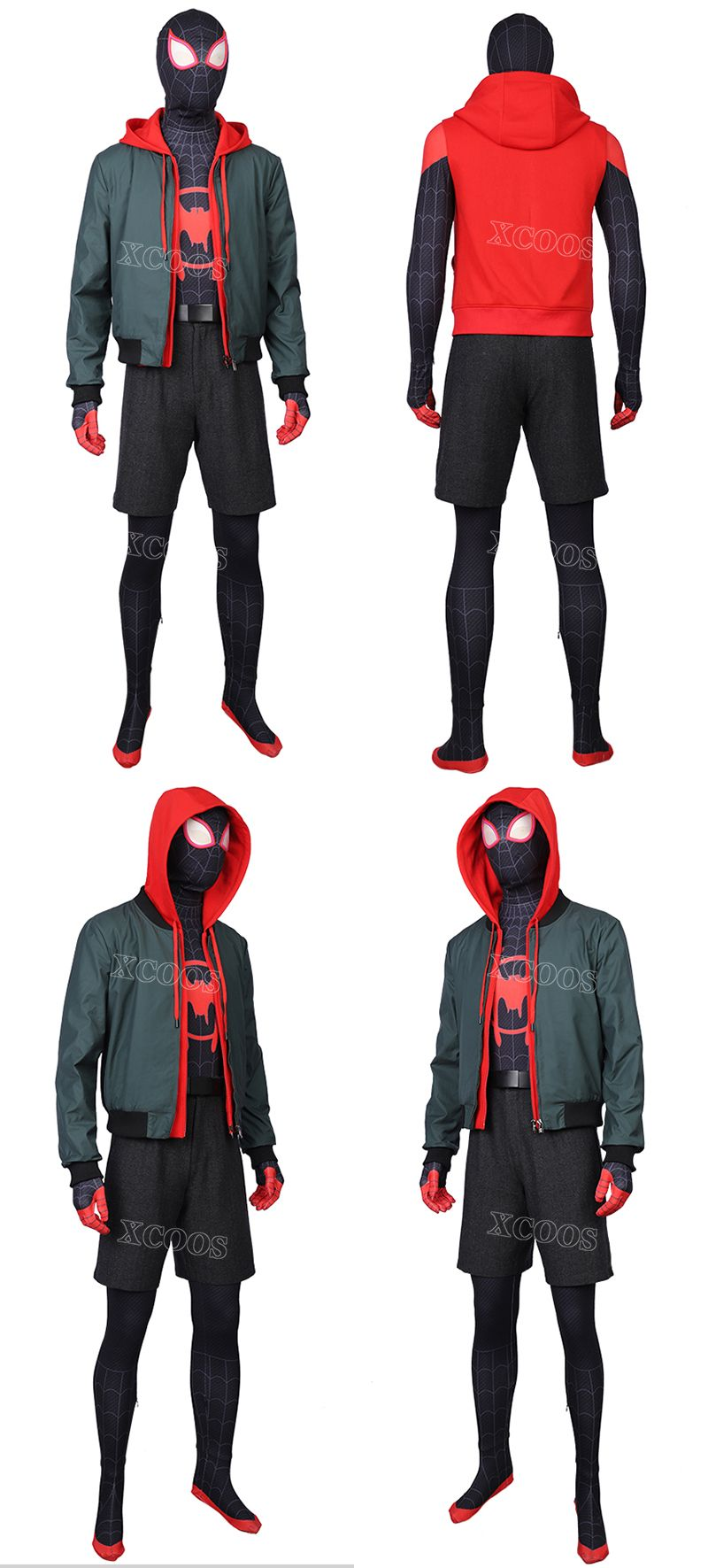Spider-Man: Into the Spider-Verse Miles Morales Cosplay Costume Jacket Hoodie #halloweencostumesmen