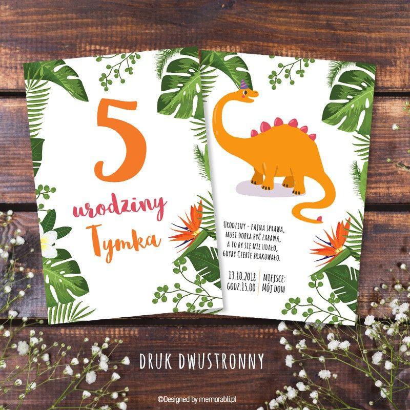 Dinozaur Pomarańczowy Zaproszenie Na Urodziny Zaproszenia