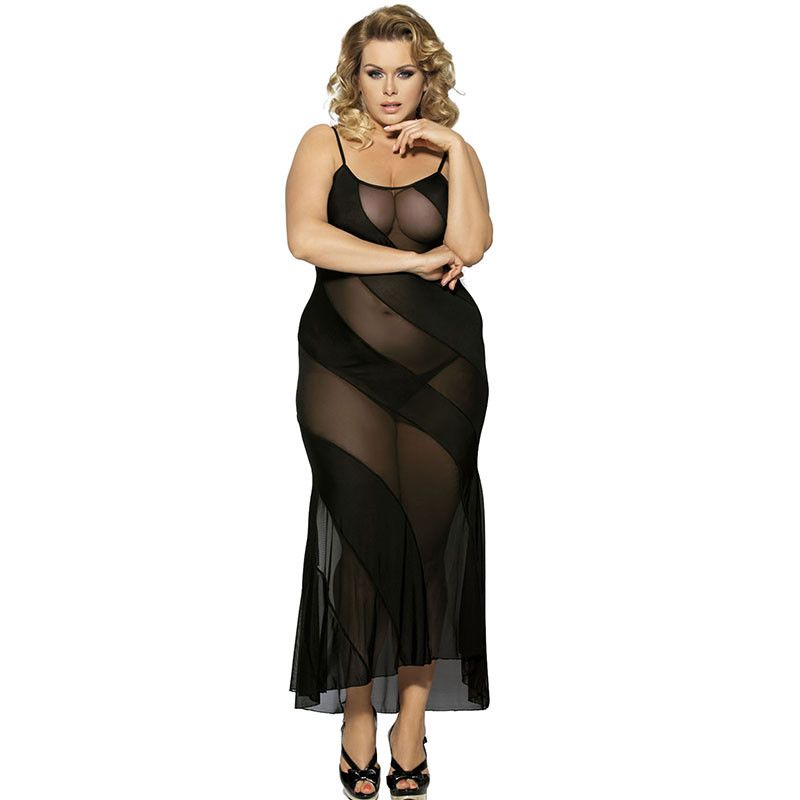 Rb7389 Transparent Women Sexy Long Dress Black Sleepwear Sexy Night Gown New Porn Erotic Babydoll O Neck Plus Size Lingerie To View Further For This Item