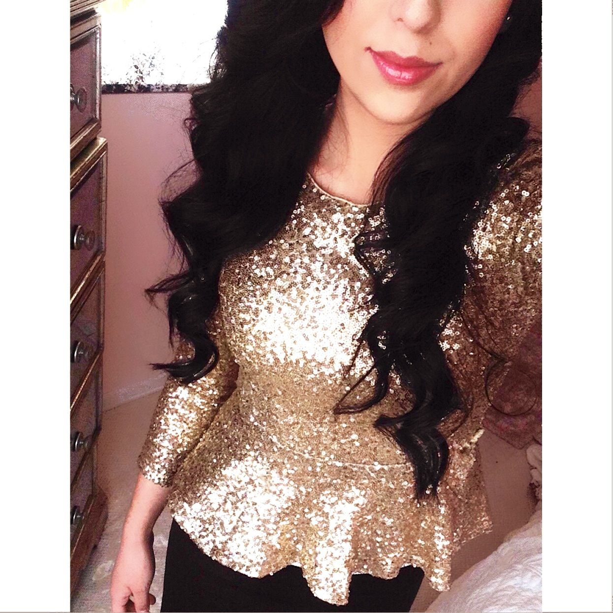 192e9c2e27b9b0 Gold Sequin Peplum top! Looove this!!! Definitely for New Years Eve ...