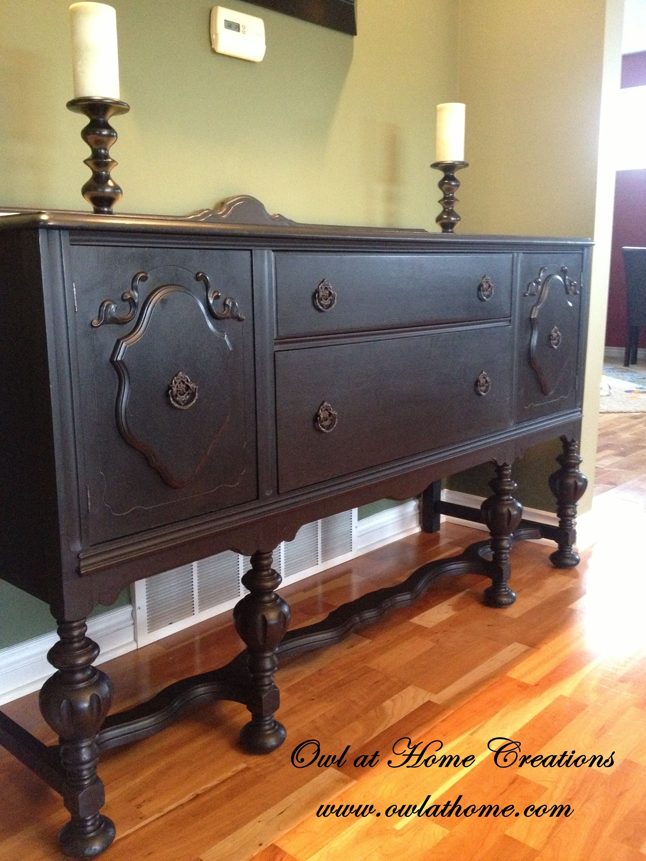 Painted Buffet General Finishes Milk Paint Lamp Black
