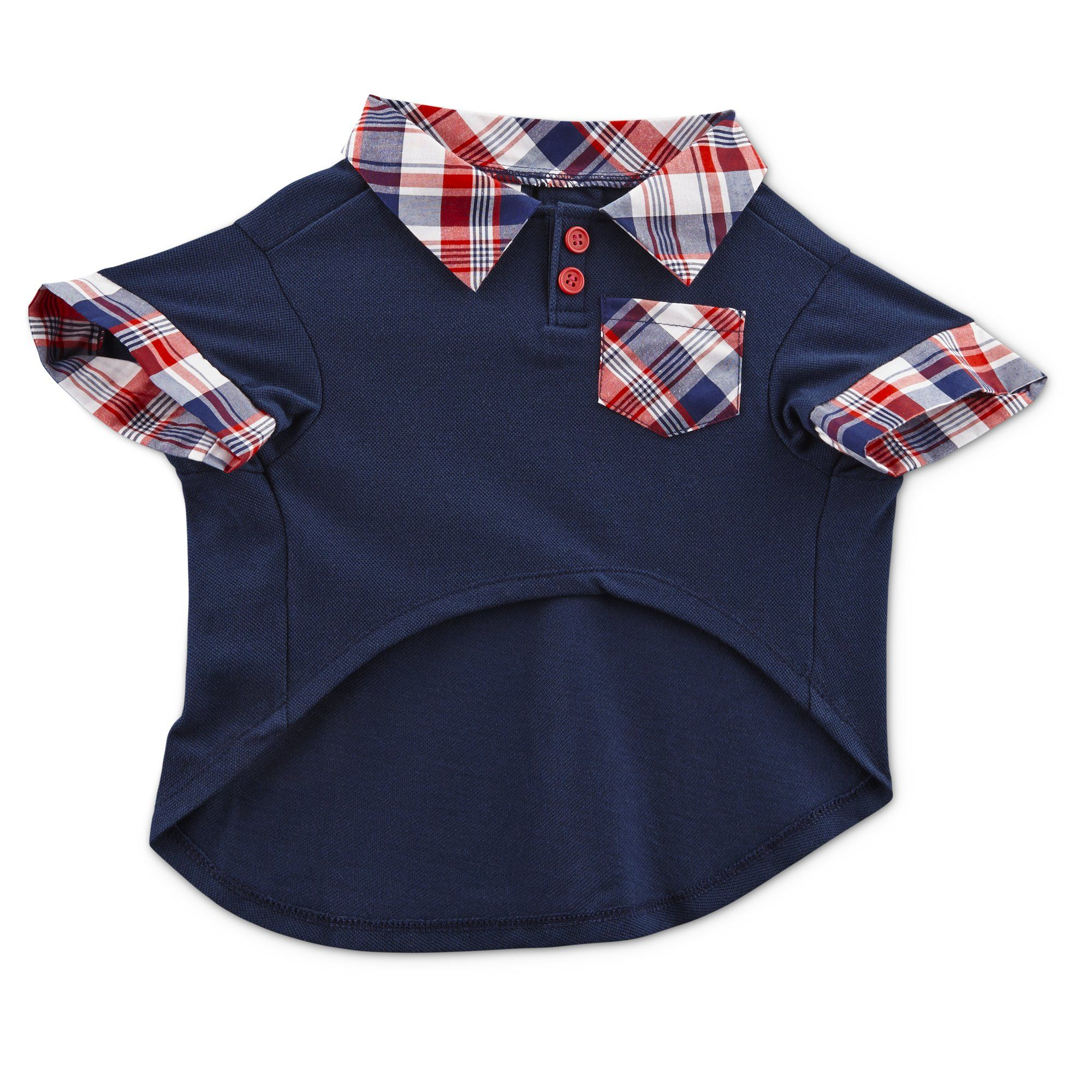 Patriotic Pets Red Plaid And Blue Dog Polo Shirt X Small