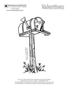 Free Coloring Page Friday Valentine S Day Mailbox Manelle Oliphant Illustration Free Coloring Pages Coloring Pages Valentines