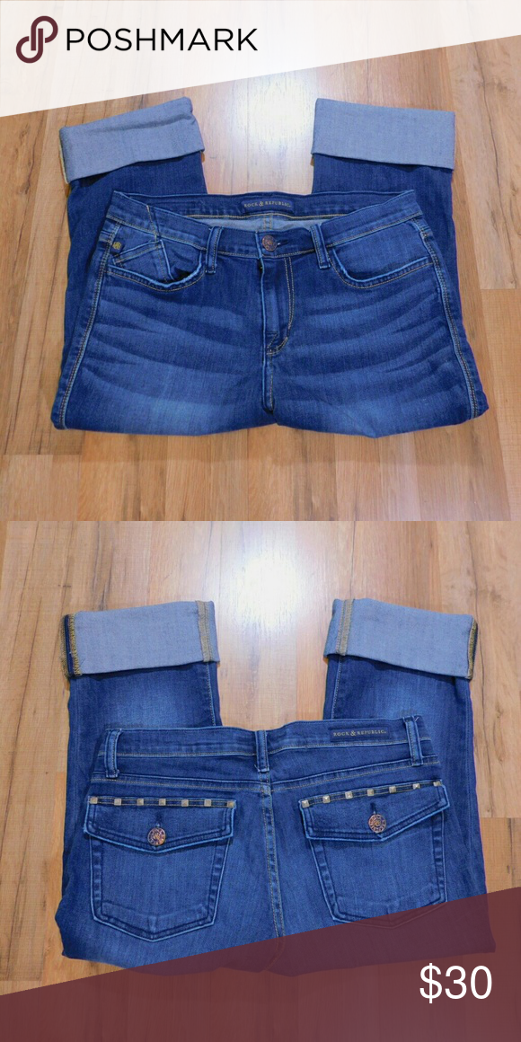 Rock & Republic Kendall Cropped Jeans Size 12 Great