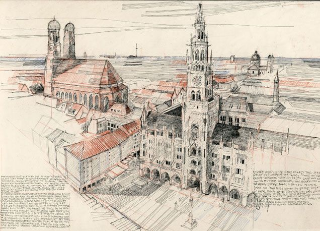 Aerial View Of Munich Benedict O Looney Sketchbook