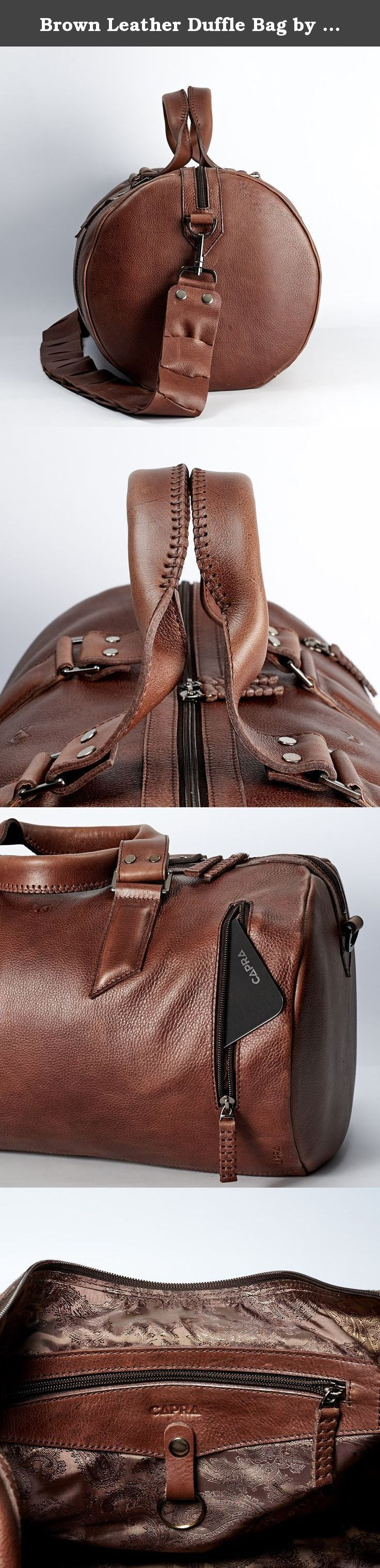 adef5e2f97dd Brown Leather Duffle Bag by Capra Leather. Size  25 Liters. Personalized