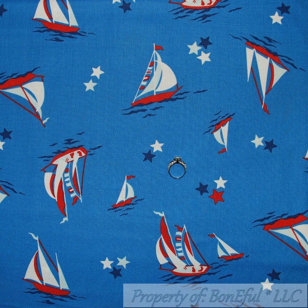 BonEful Fabric FQ Cotton Blue Yellow Star Moon Twinkle Baby Glitter Nursery RARE