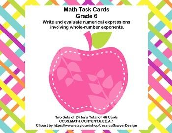 Math Task Cards- Grade 6-Exponents-CCSS.MATH.CONTENT.6.EE.A.1