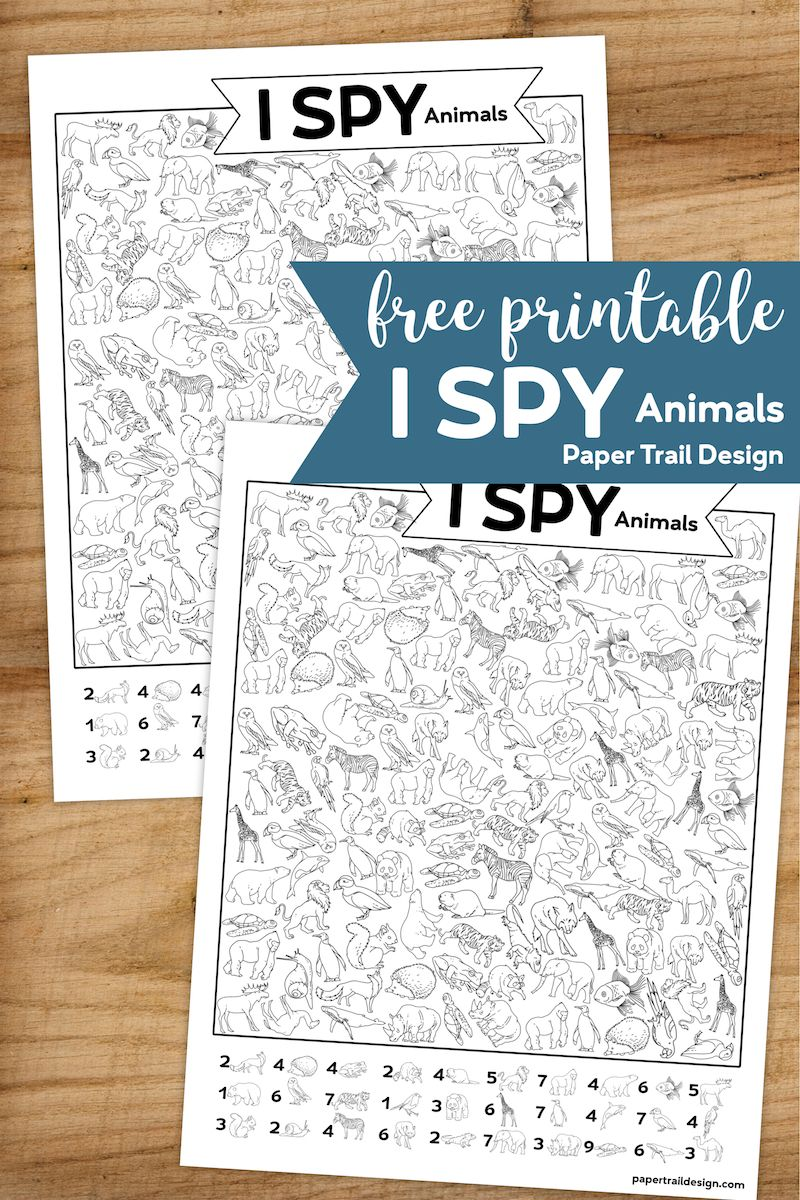 Free Printable I Spy Animal Activity for a party game, rainy day activity, or just a fun coloring page for the kids. Perfect for a classroom activity page. #papertraildesign #animal #animals #Ispy #Ispyactivity #classroom #classroomactivity #boredombuster