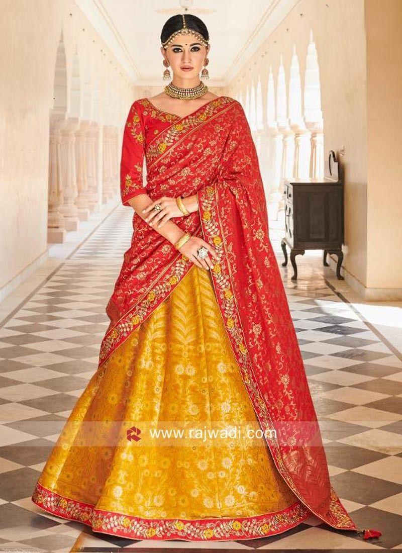 2ded7fef842261 Mustard Yellow and Red Lehenga Choli. #rajwadi #lehengacholi #weddingseason  #weddingdress #embroidery #lehenga #ethnicwear #bridalwear #designerwear # .