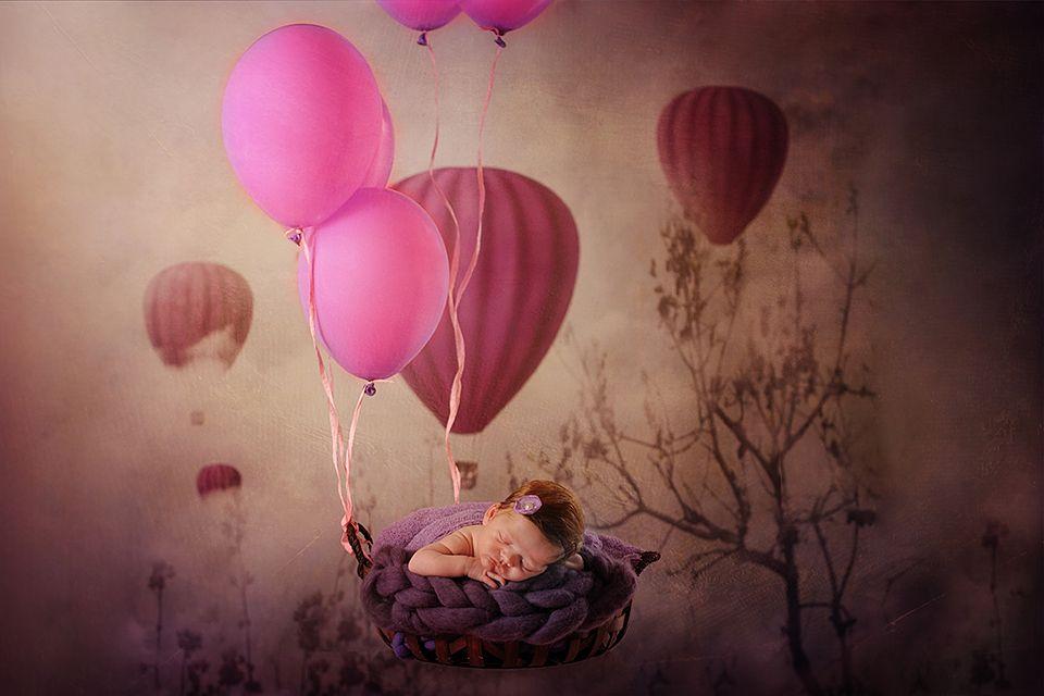 fairytale, baloon, fly, pink, girl, newborn
