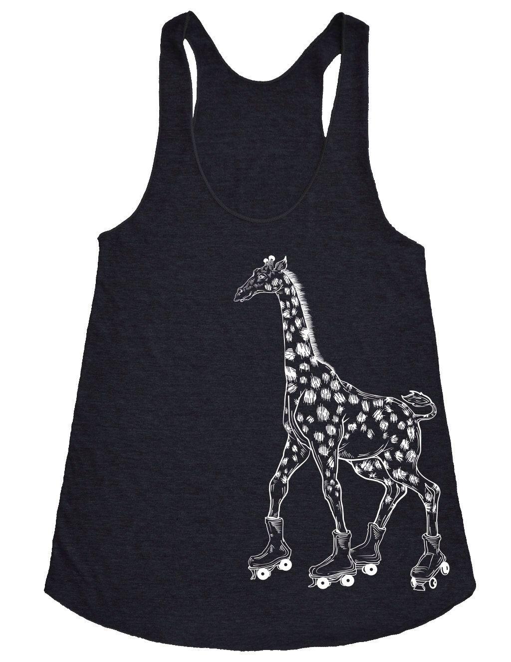 Funny Roller Skating Giraffe Tank Top Printed On Bella Canvas Tri Blend Womens Triblend Racerback Tank Tri-blend
