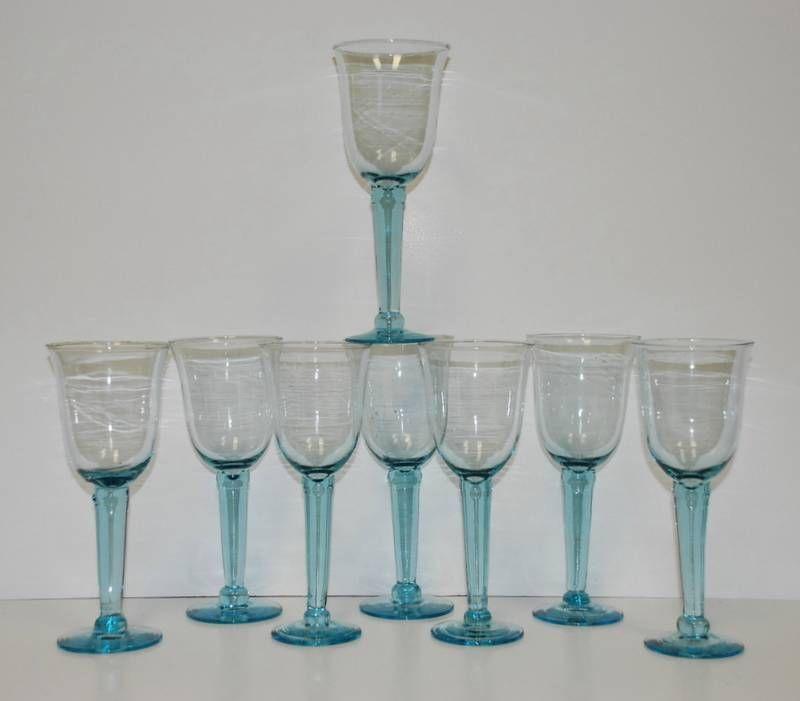 set of 8 light aqua blue long stem wine water goblets hand blown