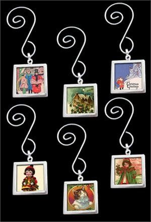 Includes 6 silver plated double sided square photo frames, 6 Christmas swirled ornament h