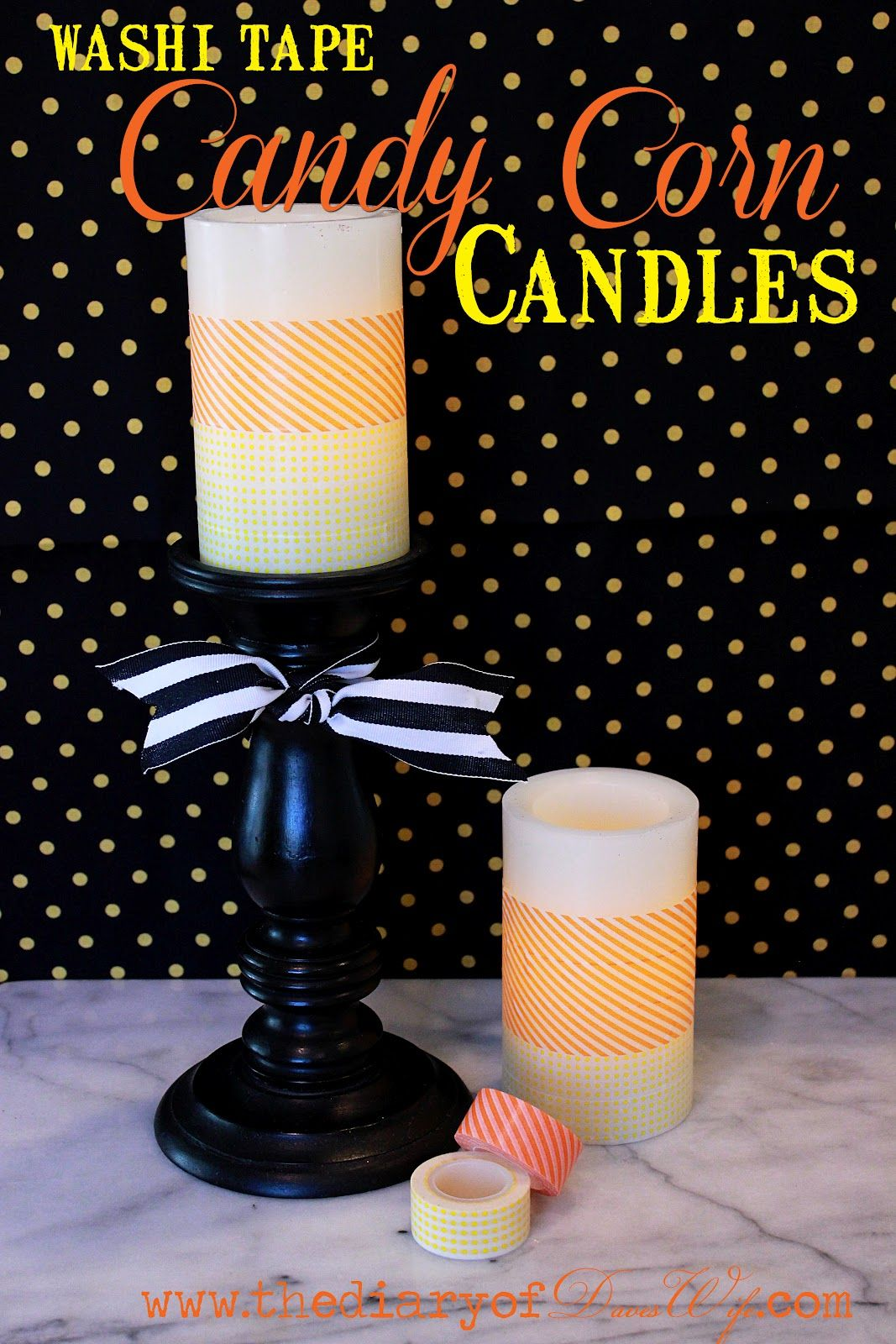 Candy Corn  Candles made with washi tape
