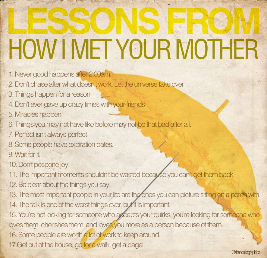 Lessons to learn from HIMYM How I Met Your Mother How