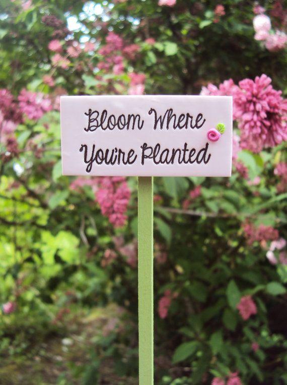 Fairy Garden Miniature Sign Bloom Where You're by HelloLittleCloud