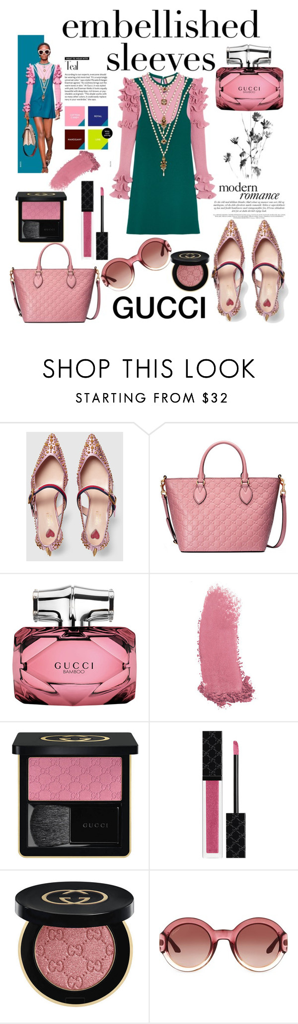 """""""GUCCI: Embellished Sleeves"""" by mandimwpink ❤ liked on Polyvore featuring Gucci, gucci and embellishedsleeves"""