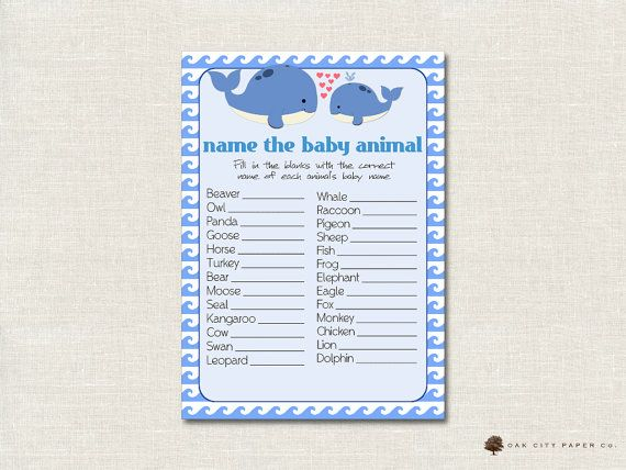 Whale Name The Baby Animal Baby Shower Game   Whale Shower Baby Animal Game,  Guess The Baby Animal Game, Nautical, Printable, DIY