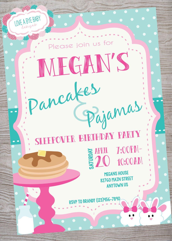 Pancakes and Pajamas Birthday Party invitation . printable. digital ...