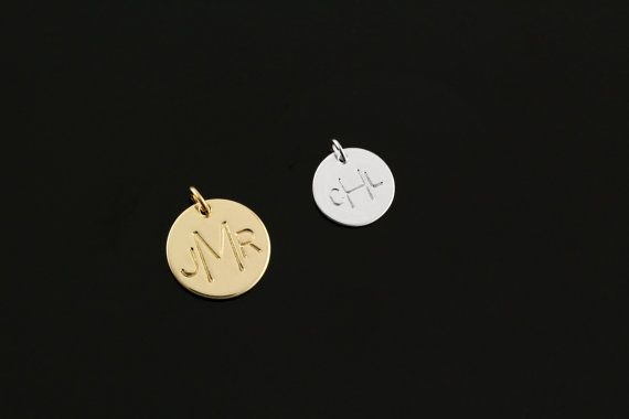"""ADD A CHARM - Monogrammed Initials, Sterling Silver Personalized Necklace Charm, 14k Gold Monogram Di 1/2"""""""